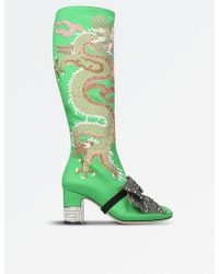 Gucci - Dragon Satin Mid-heel Knee Boot - Lyst