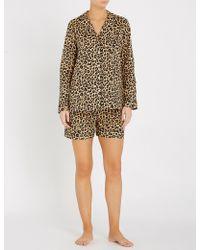 YOLKE - Leopard-print Cotton-poplin Pyjama Set - Lyst