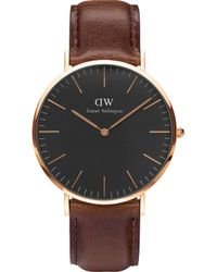 Daniel Wellington - Classic Bristol Rose Gold Watch - Lyst