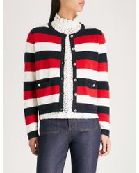 Claudie Pierlot - Striped-pattern Knitted Cotton-blend Cardigan - Lyst