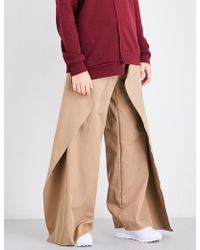 Moohong Layered-panel Wide High-rise Cotton Trousers