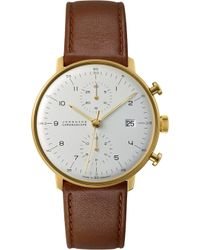 Junghans - 027/7800.00 Max Bill Stainless Steel And Leather Chronoscope Watch - Lyst