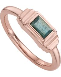 Monica Vinader - Baja Deco 18ct Rose Gold And Labradorite Ring - Lyst