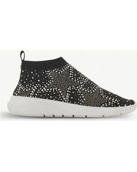 Dune - Emerald Diamante-embellished Sock-fit Trainers - Lyst