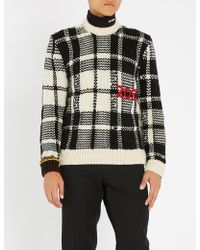 CALVIN KLEIN 205W39NYC - Checked Cable-knit Wool Jumper - Lyst