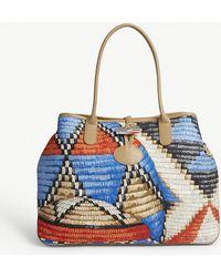 Longchamp - Roseau Basket-weave Canvas Shoulder Bag - Lyst