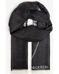 Alexander McQueen Skull Print Wool Scarf - Black