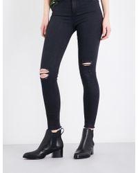 Rag & Bone - Ladies Black Distressed Skinny High-rise Jeans - Lyst