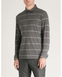 Corneliani - Striped Cotton-piqué Polo Shirt - Lyst