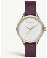 Armani Exchange - Ax5605 Stainless Steel And Leather Watch - Lyst