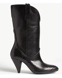 3360f143ba The Kooples - Python-embossed Leather Ankle Boots - Lyst
