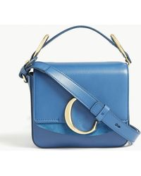 086c44b190c9 Lyst - Saint Laurent Monogram Sunset Leather Shoulder Bag in Blue
