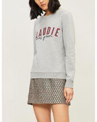 Claudie Pierlot - Tiptop Slogan-embroidered Cotton-jersey Sweatshirt - Lyst