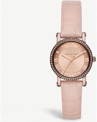 6e59f6fc4528 Michael Kors - Mk2723 Norie Rose Gold-toned Stainless Steel And Leather  Watch - Lyst