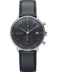 Junghans - 027/4601.00 Max Bill Chronoscope Stainless Steel And Leather Watch - Lyst