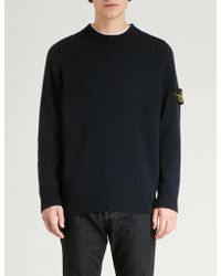 Stone Island - Logo Patch Lambswool Jumper - Lyst