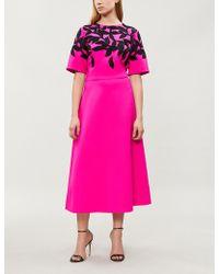 Oscar de la Renta - Leaf-motif Embellished Stretch-wool Gown - Lyst
