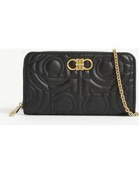 Ferragamo - Embossed Leather Wallet-on-chain - Lyst