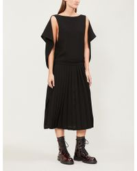 Limi Feu - Cape-detail Pleated Crepe Dress - Lyst
