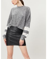 The Kooples - Lace Insert Cotton-blend Jumper - Lyst