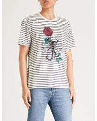 The Kooples - Embroidered Striped Cotton-jersey T-shirt - Lyst