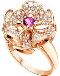 BVLGARI - Divas' Dream 18kt Rose-gold And Diamond Ring - Lyst