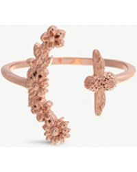 Olivia Burton - Bee Bloom 18ct Rose Gold-plated Floral And Bee Ring - Lyst