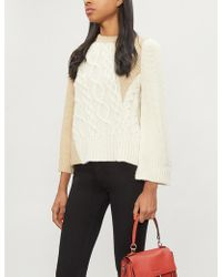 Co. - Crewneck Long-sleeve Patchwork Cable-knit Tunic Sweater - Lyst