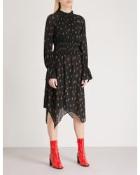 Mo&co. - Floral-print Pleated Chiffon Dress - Lyst