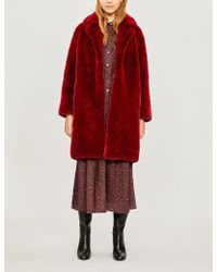 Sandro - Oversized Faux-fur Coat - Lyst