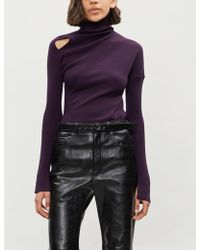 Yang Li - Cutout-panel Ribbed Wool Turtleneck Jumper - Lyst