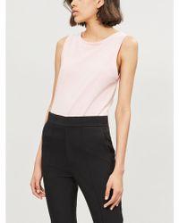 9f595aa0af92 Helmut Lang - Ladies Rose Quartz Logo-embroidered Cotton-jersey Top - Lyst