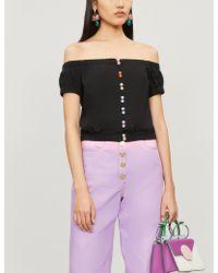 2faf7343e27963 Olivia Rubin - Justine Off-the-shoulder Contrast-button Cotton Top - Lyst