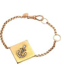 Annina Vogel - 9ct Rose-gold Rose-cut Diamond Anchor Guard Bracelet - Lyst