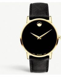 Movado - New Museum Gold-plated Stainless Steel And Leather Strap Watch - Lyst
