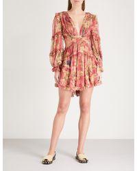 Zimmermann - Melody Floral-print Silk-georgette Dress - Lyst