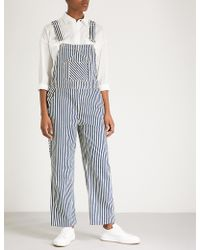 Rag & Bone - Stripe-pattern Denim Dungarees - Lyst