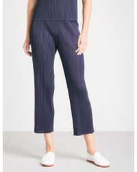 Pleats Please Issey Miyake - Basics Cropped Pleated Trousers - Lyst