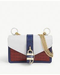 Chloé - Aby Chain Croc-embossed Leather Shoulder Bag - Lyst