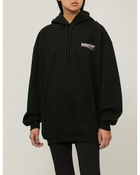 Balenciaga - Ladies Black Logo-print Cotton-jersey Hoody - Lyst