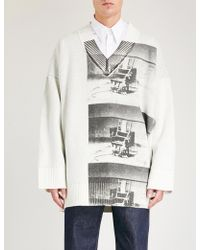 CALVIN KLEIN 205W39NYC - Andy Warhol-print Oversized Chunky-knit Jumper - Lyst