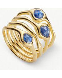 Monica Vinader - Siren 18ct Gold Vermeil And Kyanite Cluster Cocktail Ring - Lyst