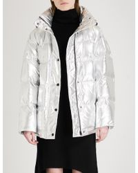 Mo&co. - Metallic Puffer And Down-blend Jacket - Lyst