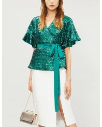 Kitri - Ladies Green Alexis Frill Sequin-embellished Top - Lyst