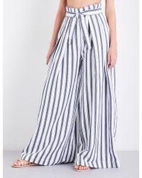 Three Graces London - Rosalinda Wide-leg Linen-blend Trousers - Lyst
