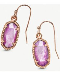 Kendra Scott - Lee 14ct Rose Gold-plated And Lilac Mother-of-pearl Earrings - Lyst