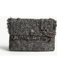 Kurt Geiger - Ladies Grey Kensington Tweed Shoulder Bag - Lyst
