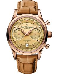 Carl F. Bucherer - 00.10919.03.43.01 Manero Flyback 18ct Rose Gold And Alligator Leather Watch - Lyst