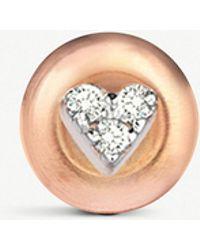 The Alkemistry - Diamond Heart 14ct Rose-gold Earrings - Lyst
