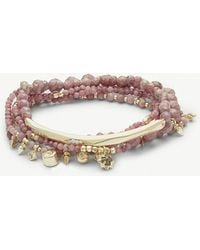 Kendra Scott - Supak 14ct Gold-plated And Pink Rhodonite Beaded Bracelet - Lyst